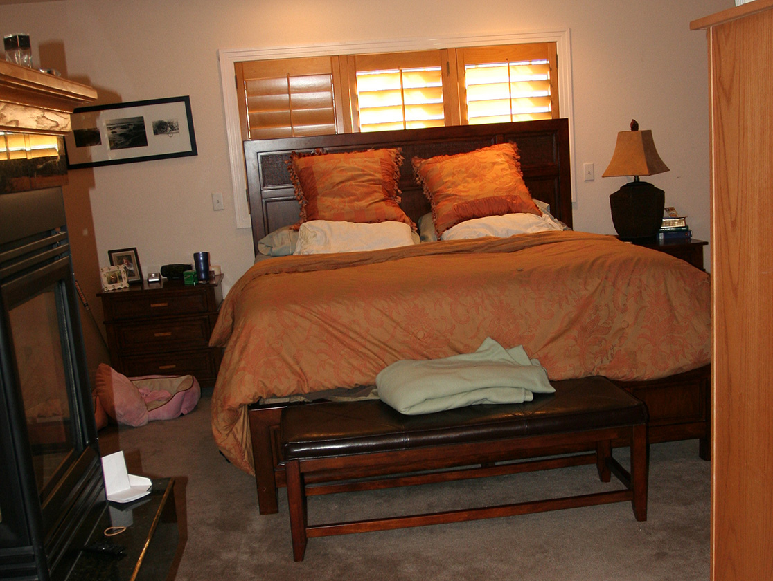 "Before Once a virtual ""man cave,"" this bachelor bedroom was dominated by heavy, oversize furniture and strong colors."