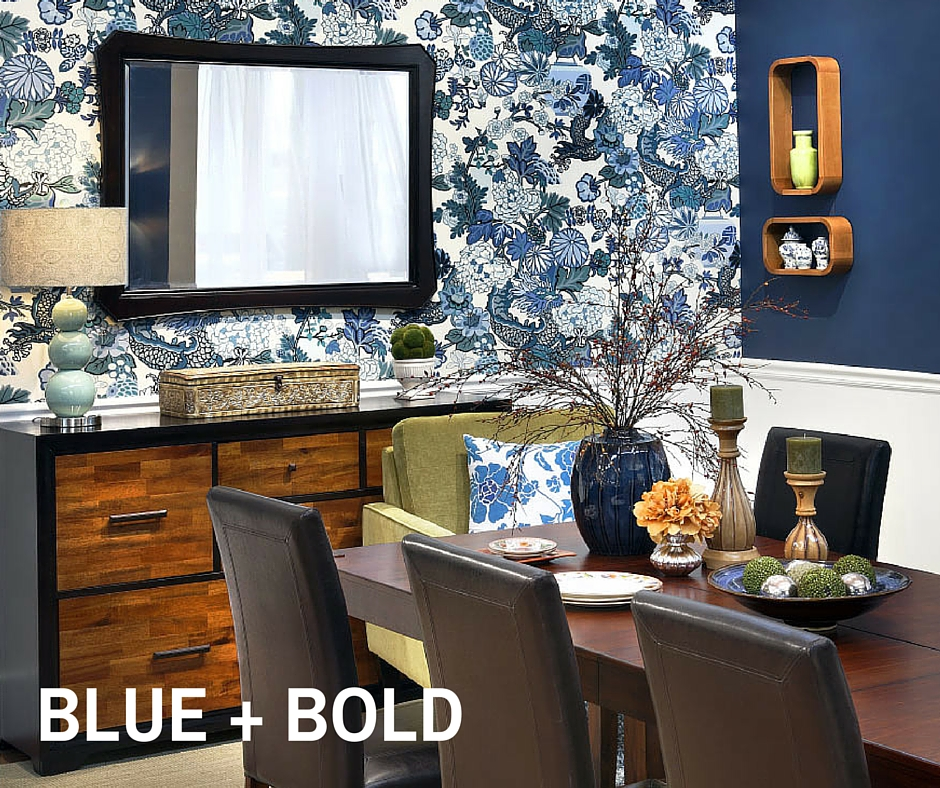 Blue And Bold: Create A Focal Point In Your Dining Room With Bold Wallpaper  Or By Wall Papering Just One Wall. The White Chair Rail Complements Other  Bold ... Part 41